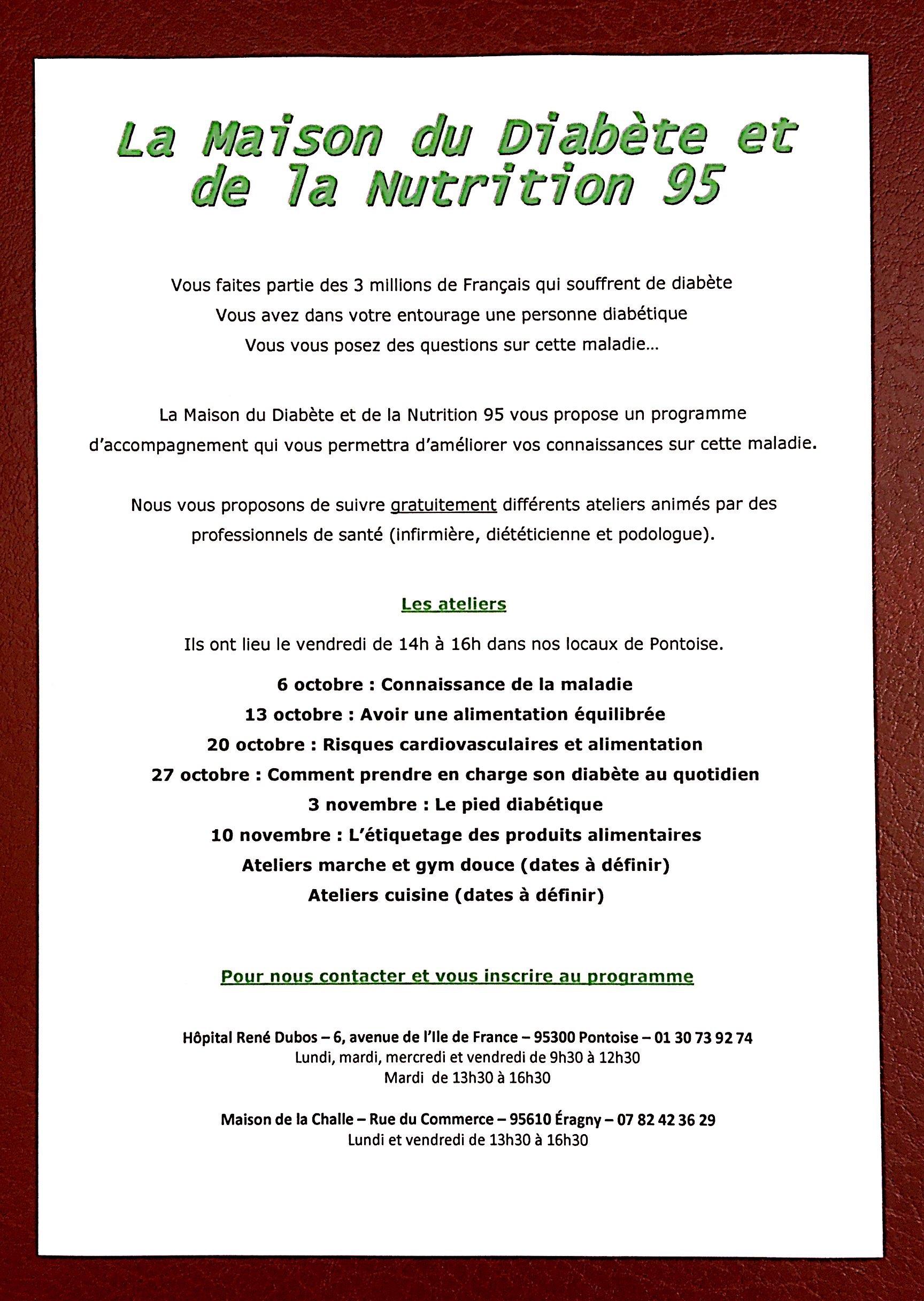 Calendrier Infirmiere Pontoise.Maison Du Diabete Et De La Nutrition 95 Pontoise